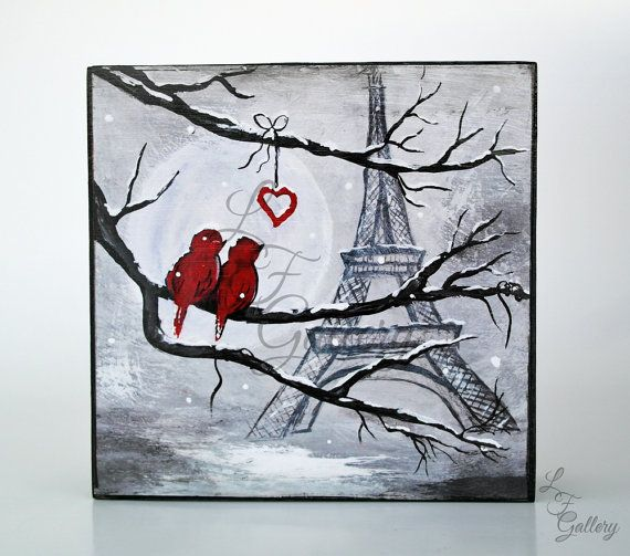 Original Canvas Painting Love Birds Painting Birds On Wire Painting