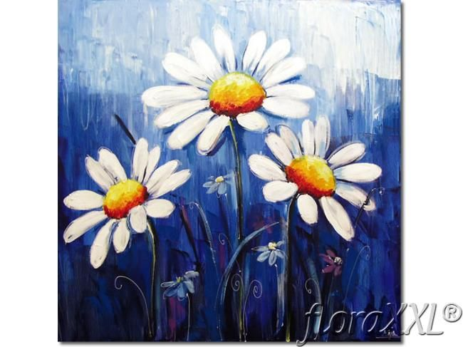 cuadro moderno margaritas flores blancas kliknij aby powiekszyc