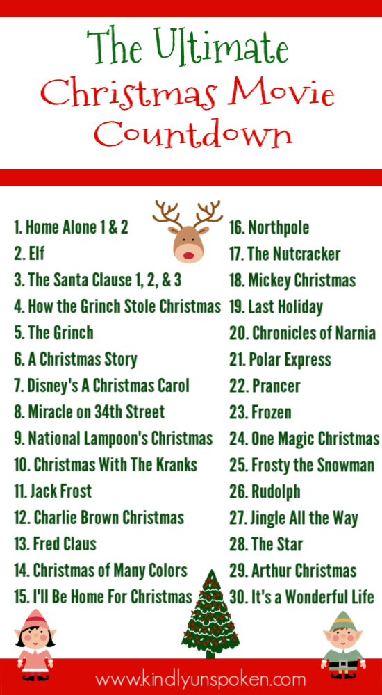Looking for Christmas movies to watch? Create your own Christmas movie countdown with the 30 Best Family Christmas Movies full of classic Christmas movies and Christmas favorites that both kids and adults will love! #christmasmovies #christmas #christmascountdown #christmasprintable #movie #christmas #movie