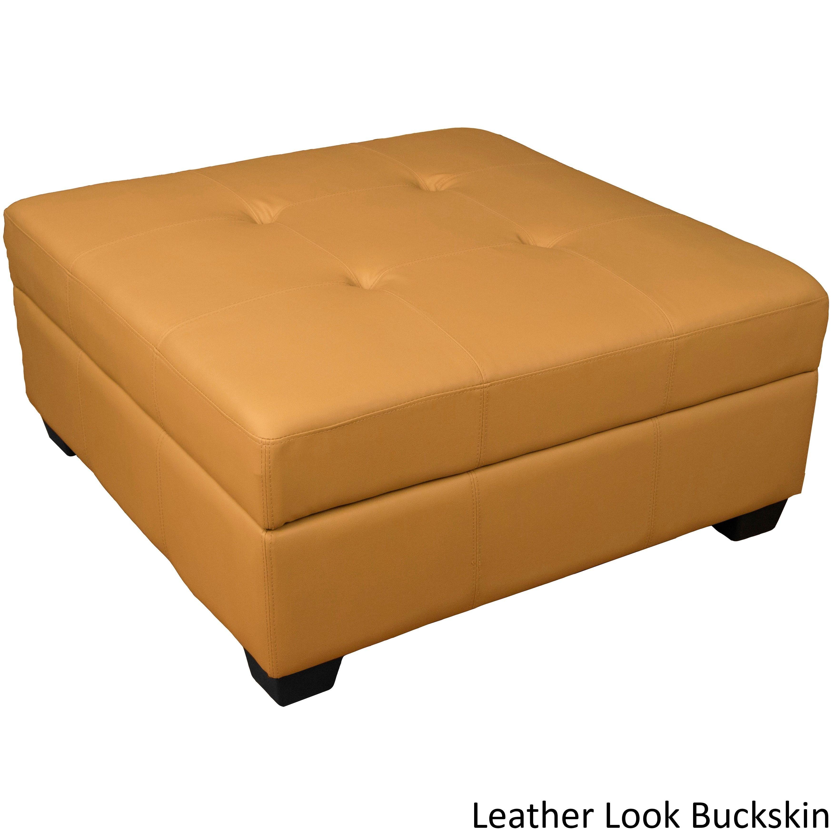Epicfurnishings epic furnishings vanderbilt 36 inch square hinged storage bench ottoman leather look buckskin brown size large foam