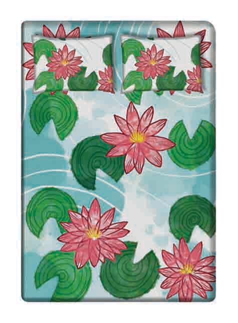 Lotus Pond Cushion Cover. Theme - Torrential, Monsoon 2016. Size: King Size (100 x 100 inches), Queen Size (90 x 100 inches). Material - Cotton. Click here to buy -> https://canofjuice.com/product/monsoon1-bed-sheets/