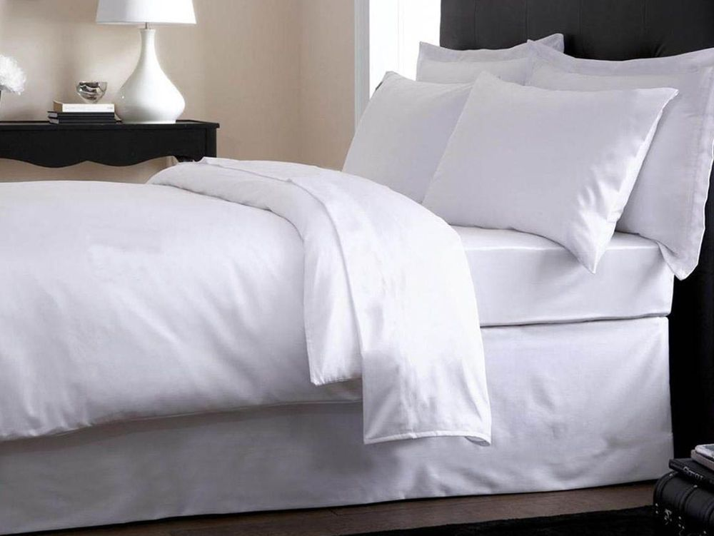 Plain White Luxury Percale Duvet Cover Pillow Case Bedding Set King Size Bed White Comforter King Bedding Sets Bed