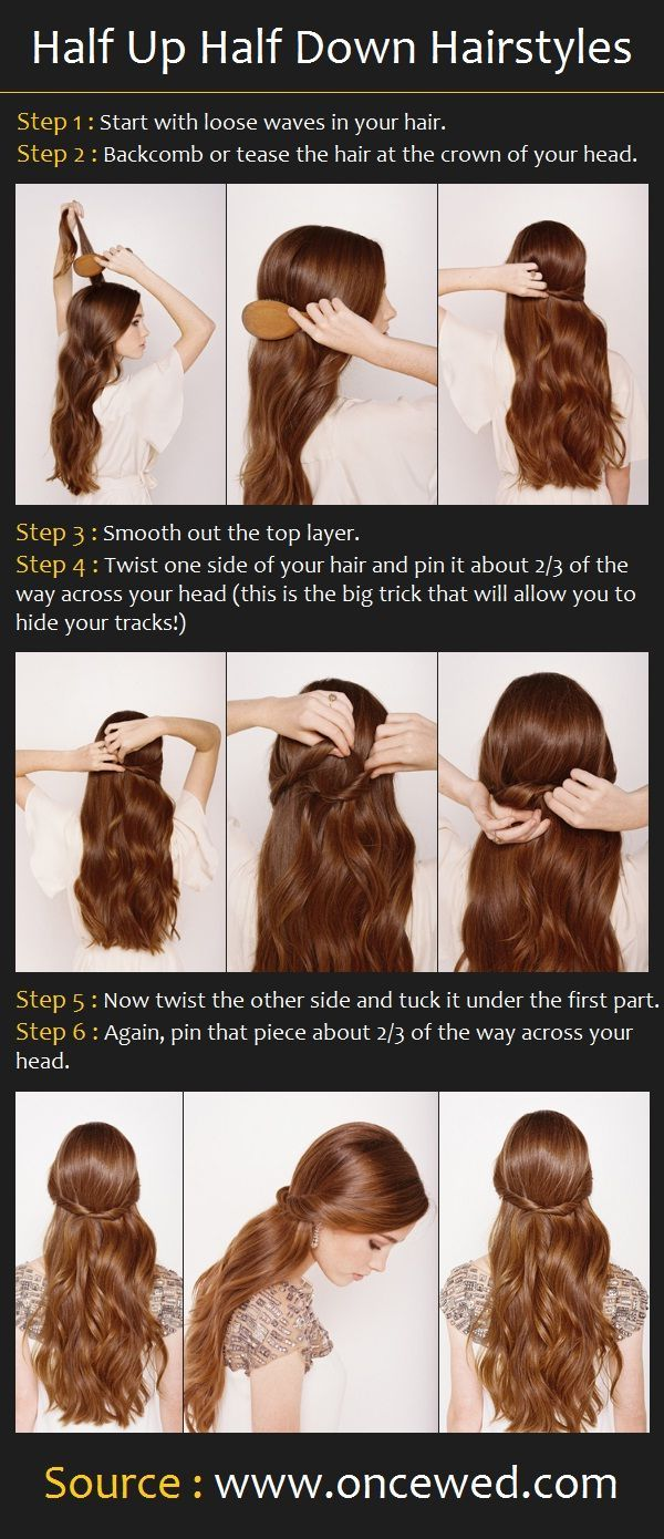 Step by step tutorial halfup halfdown hairstyle how tous style