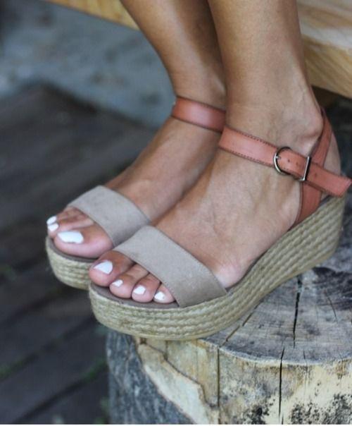 The peach skin - sandales semelle plateau corde