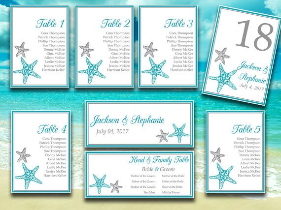 printable wedding seating chart template blissful starfish ocean