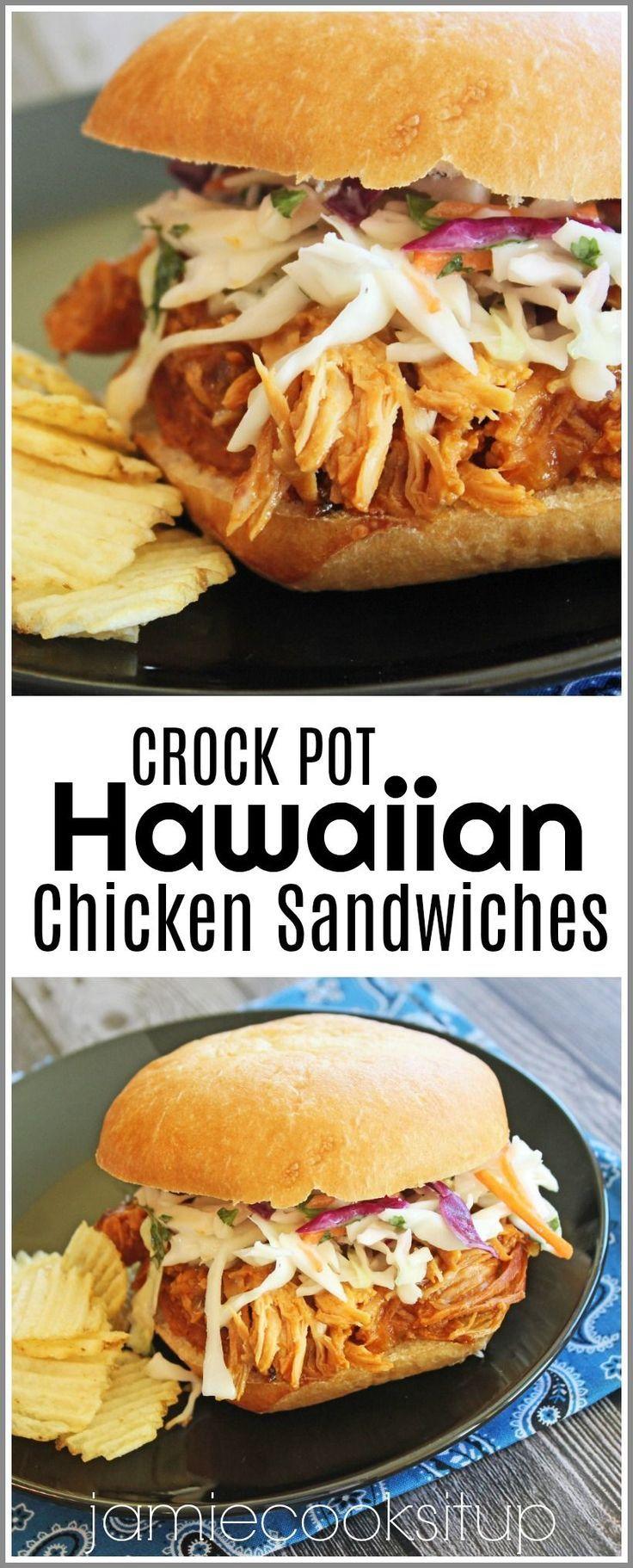 Crock Pot Hawaiian Chicken Sandwiches