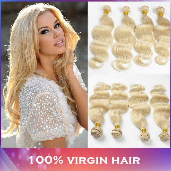 4 Bundles Virgin Peruvian Blonde Hair Color 613 Body Wave 7a Grade