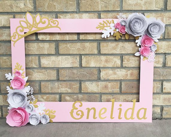 Pink Princess Birthday Frame, Photo booth prop with 3D flowers ...