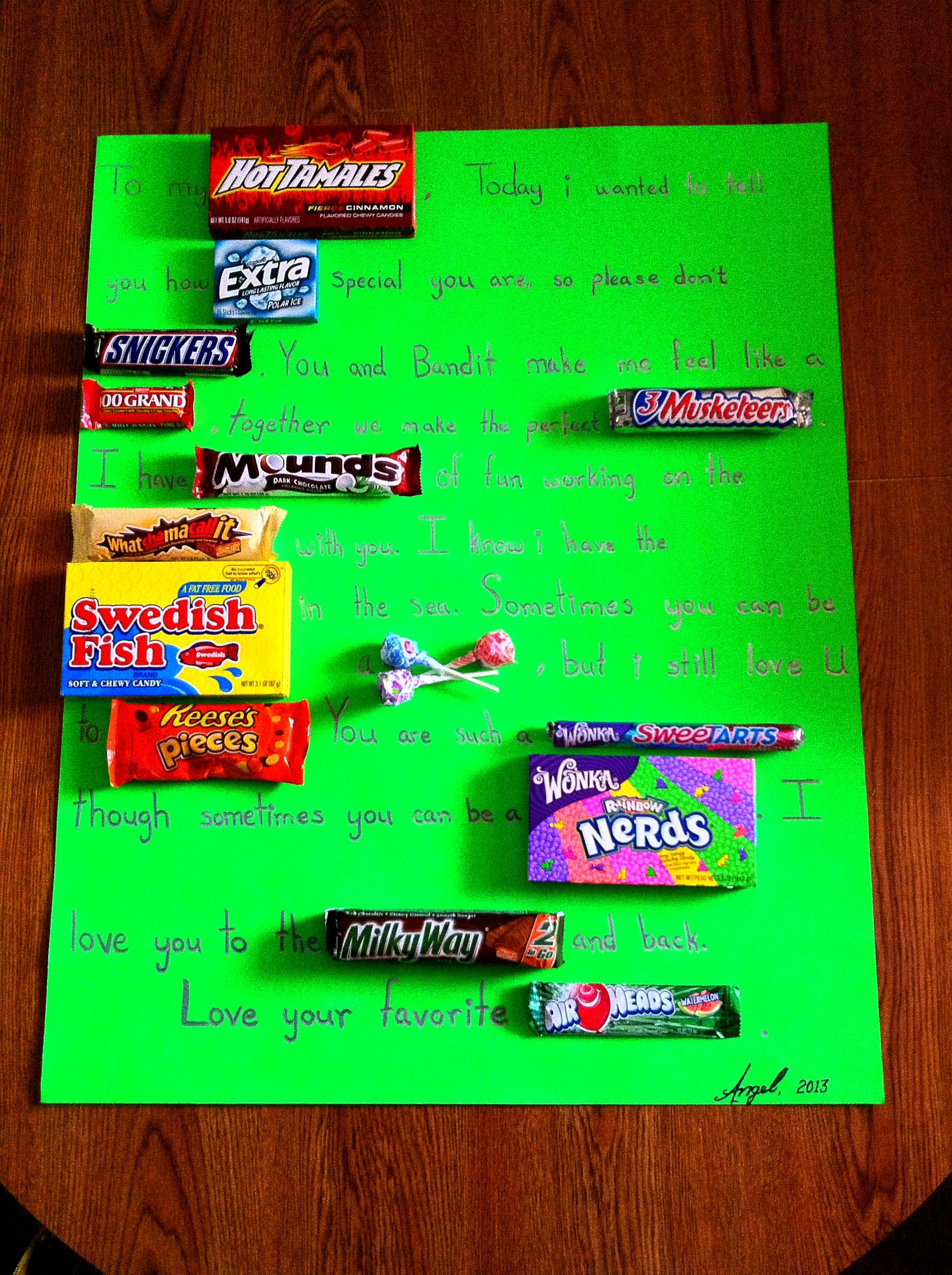My Candy Card I Made For My Boyfriend On Sweetest Day Candy