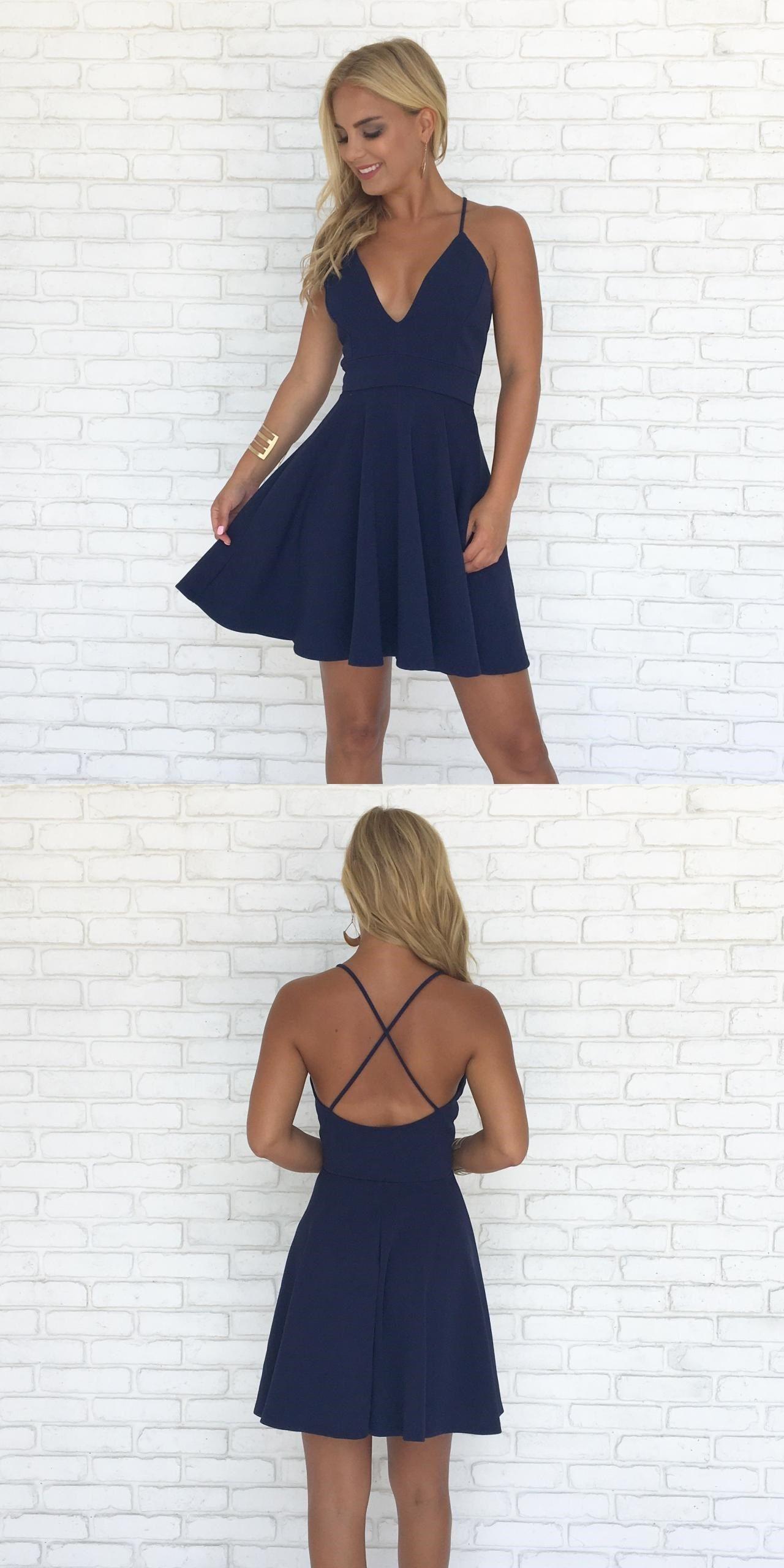 06f34611a56 Cute Spaghetti Straps V-Neck Short Dresses