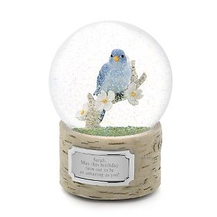 Show them how much they mean to you with this beautifully detailed, personalized blue bird snow globe. A realistic little bluebird sits on a branch of blossoms  inside this snow globe, while the birch tree base holds your message just for   them!<br><br>-Rotates and plays music<br>-A beautiful personalized gift for     friends and family<br>-Also makes a wonderful Mother's Day or birthday gift!