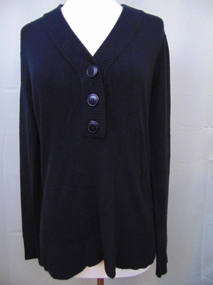 Kenneth Cole Reaction Sweater Black Long Sleeve 3-Button Size Medium #477 #KennethCole #VNeck
