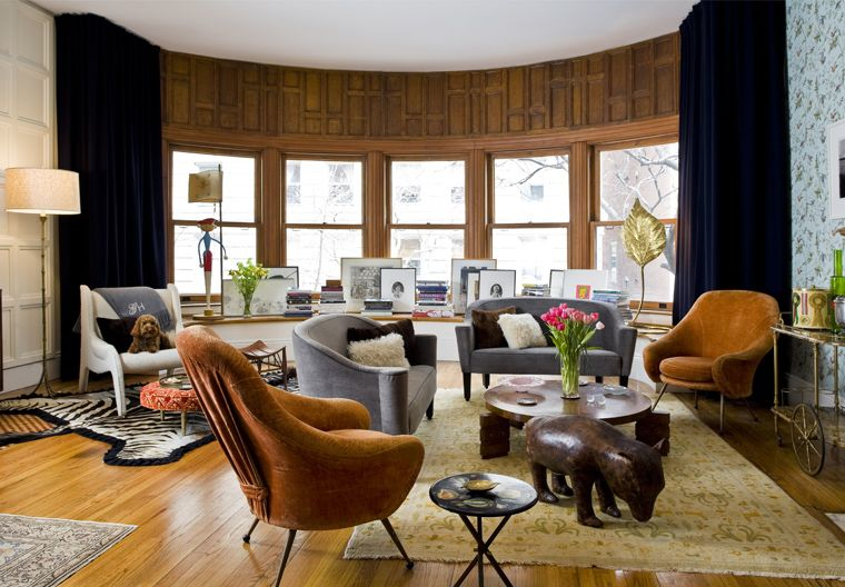Upper East Side Apartment, NYC  Photo: Bruce Buck Marco Zanuso chairs, pair of Joseph Hoffman sofas, Charles Dudouyt table, Marco Zanuso chair, Cole and Son wallpaper.