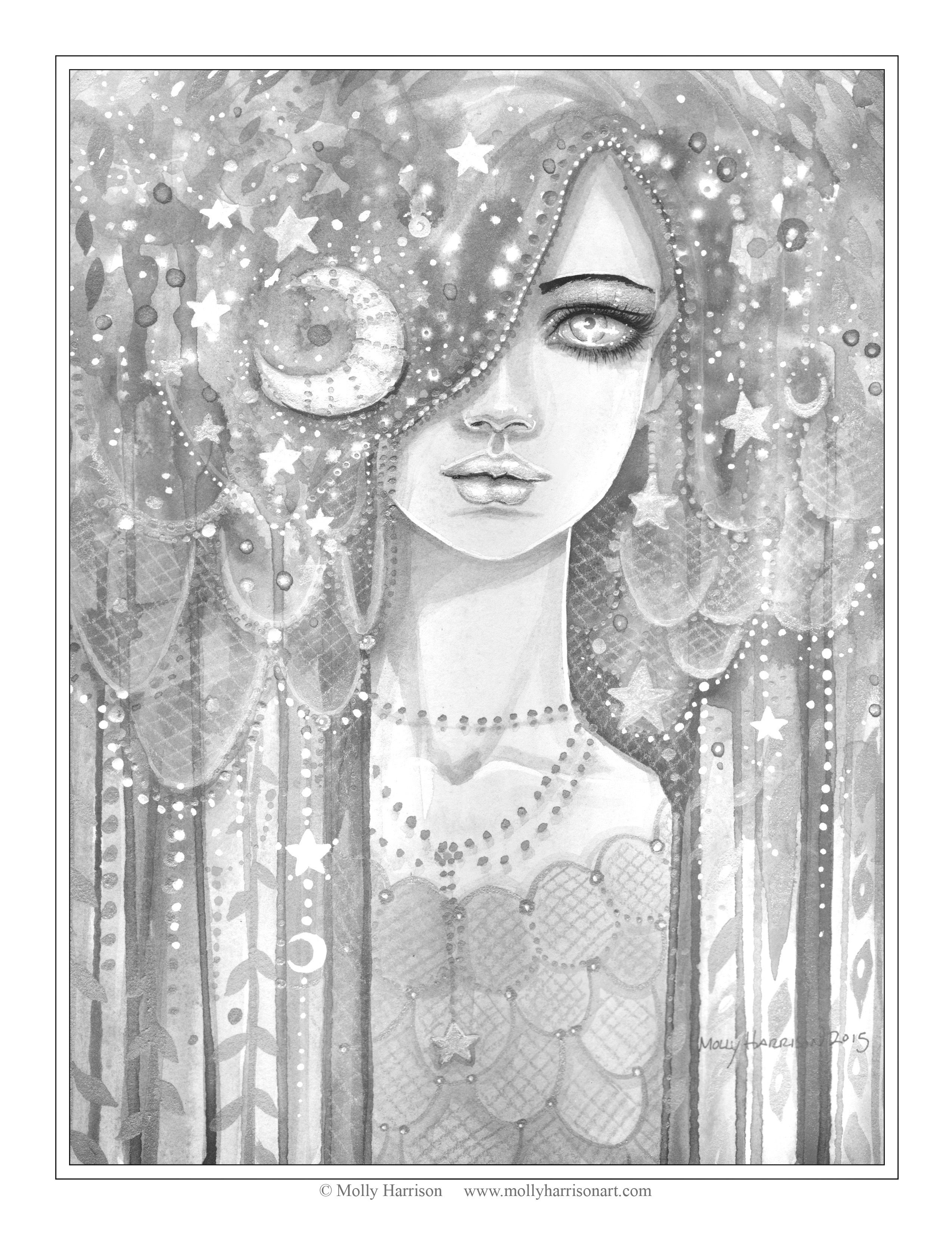Free Grayscale Coloring Page Galaxy Girl By Molly Harrison Fantasy Art Grayscale Coloring Designs Coloring Books Coloring Pages