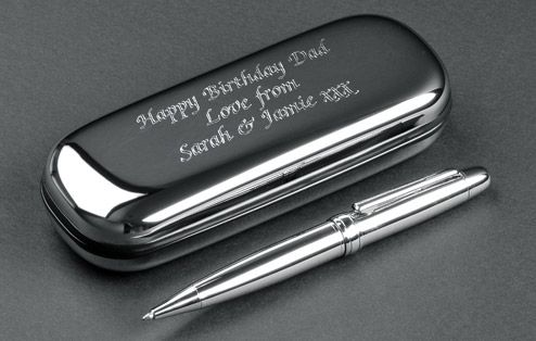 A Stylish Silver Plated Pen In A Beautifully Engraved