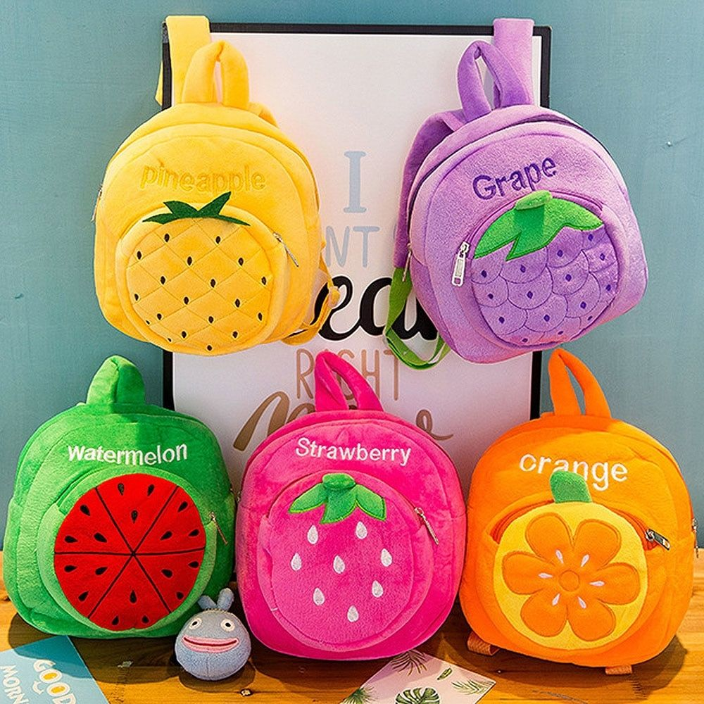 Kids Girls Cartoon Fruits Plush Backpack Baby Boys Cute Schoolbag Travel bags