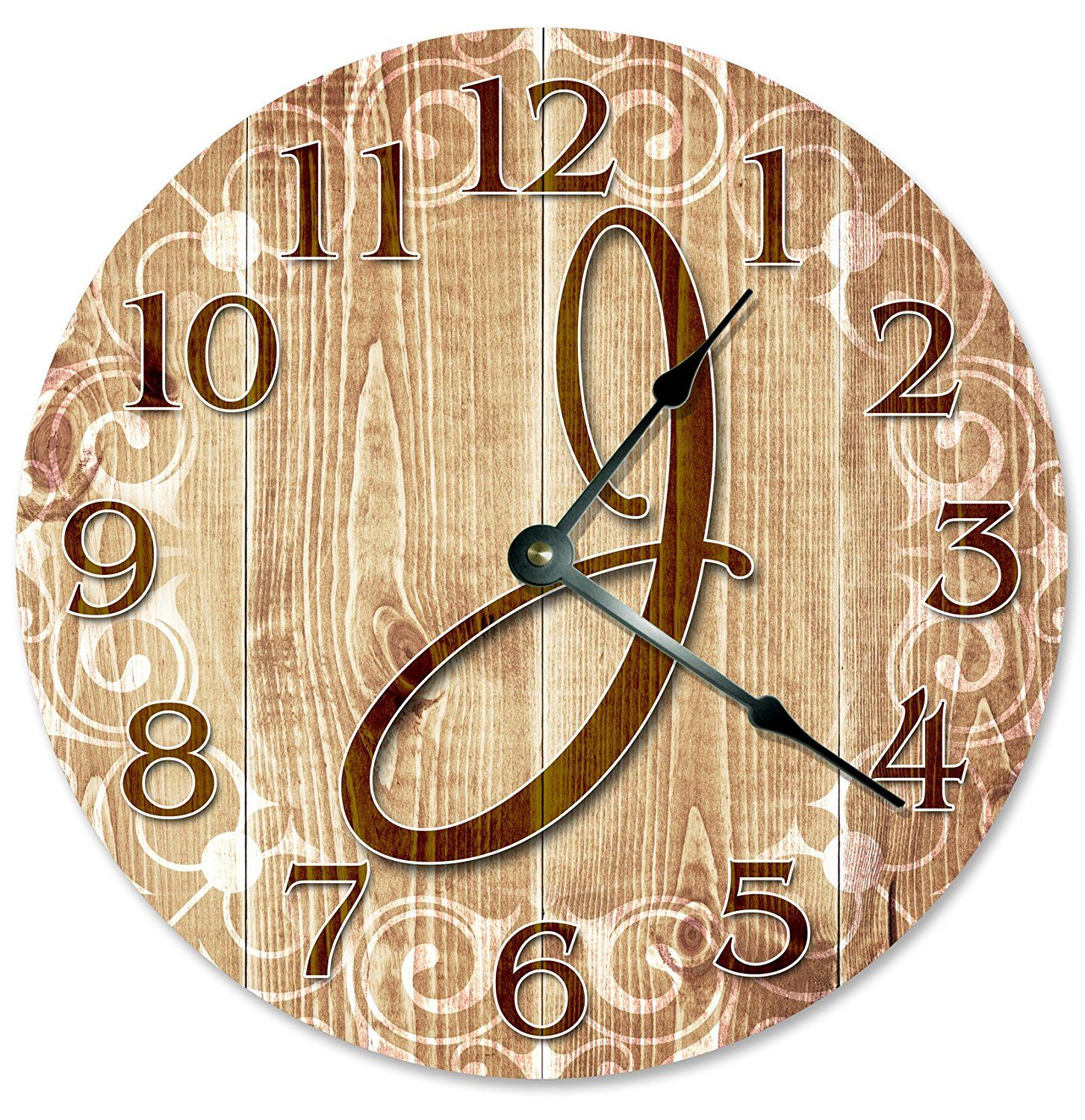 LETTER J MONOGRAM CLOCK Decorative Round Wall Clock Home Decor Large ...
