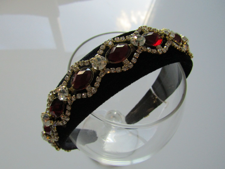 beautiful black padded velvet wide headband/hairband