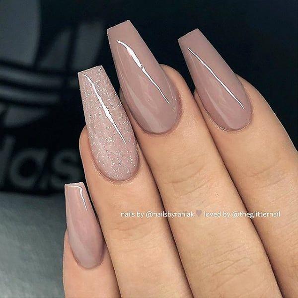 #Acrylic Nails brown  #auf #GlitzerStaubAkzent #langen #LilaBraun –