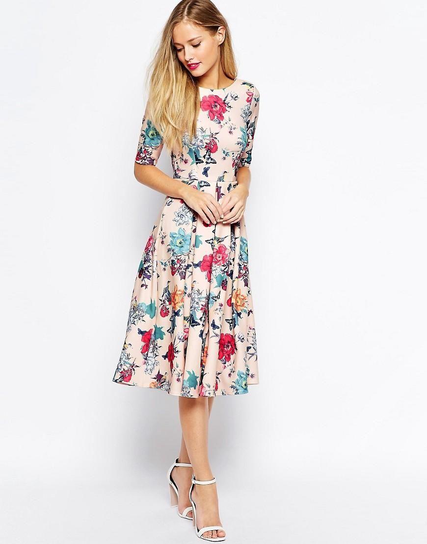 Closet | Closet Scuba Midi Skater Dress In Floral Print at ASOS ...