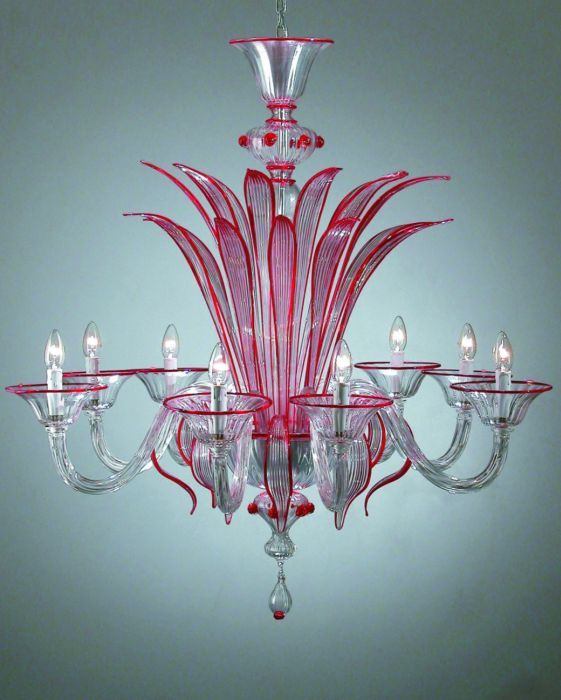 Red Murano Chandelier: Red And Pink Murano Chandelier
