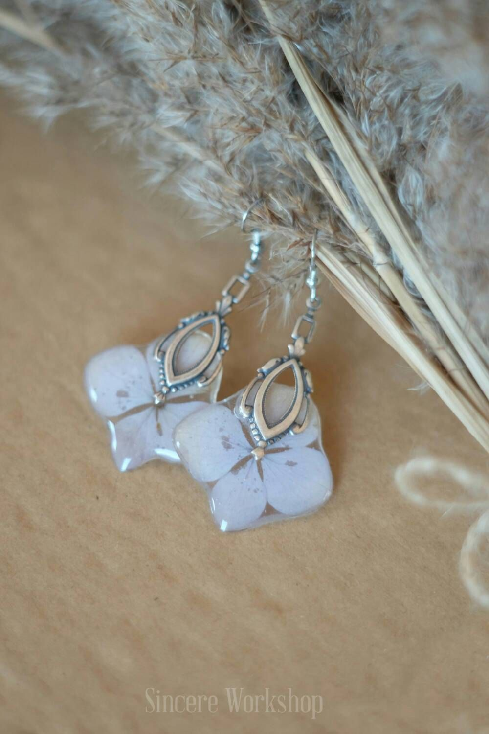 real flowers dried for romantic gift Silver hydrangea earrings