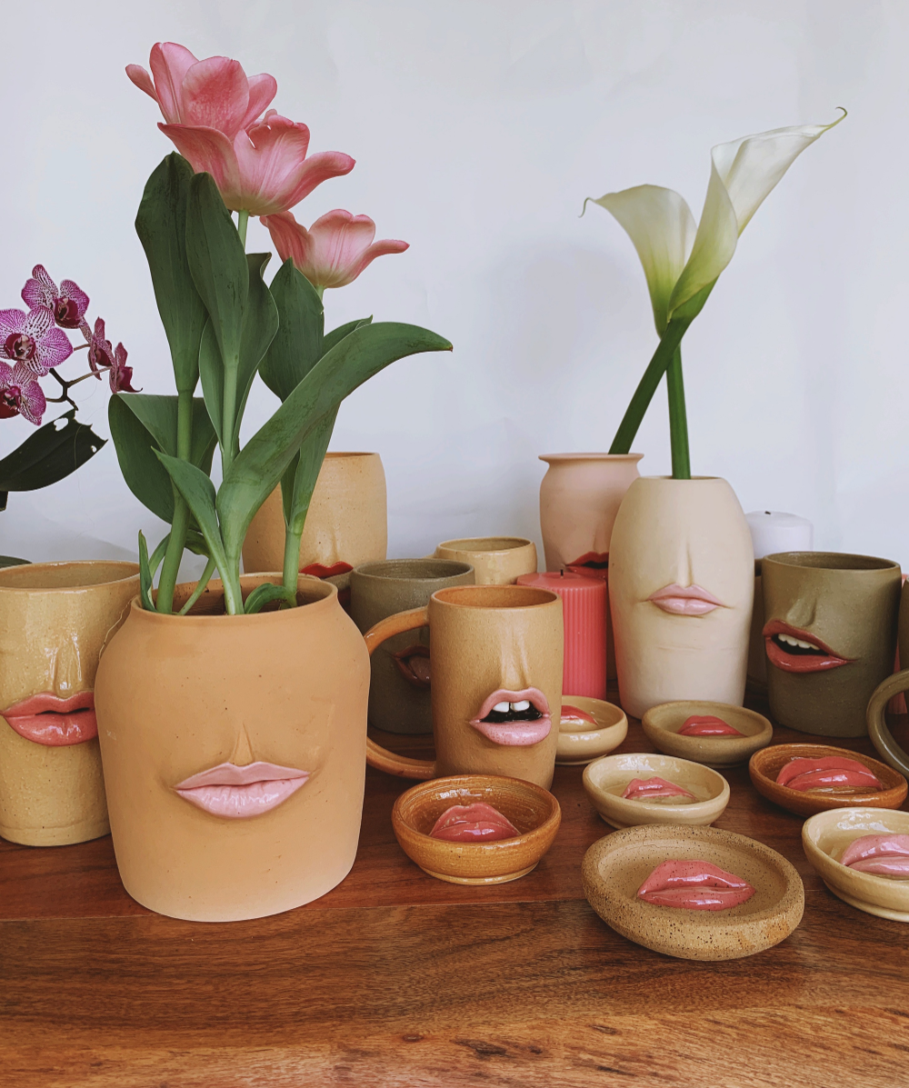 Photo of Rosy, Voluptuous Lips and Moody Faces Enliven Ceramic Vessels by Artist Tatiana Cardona