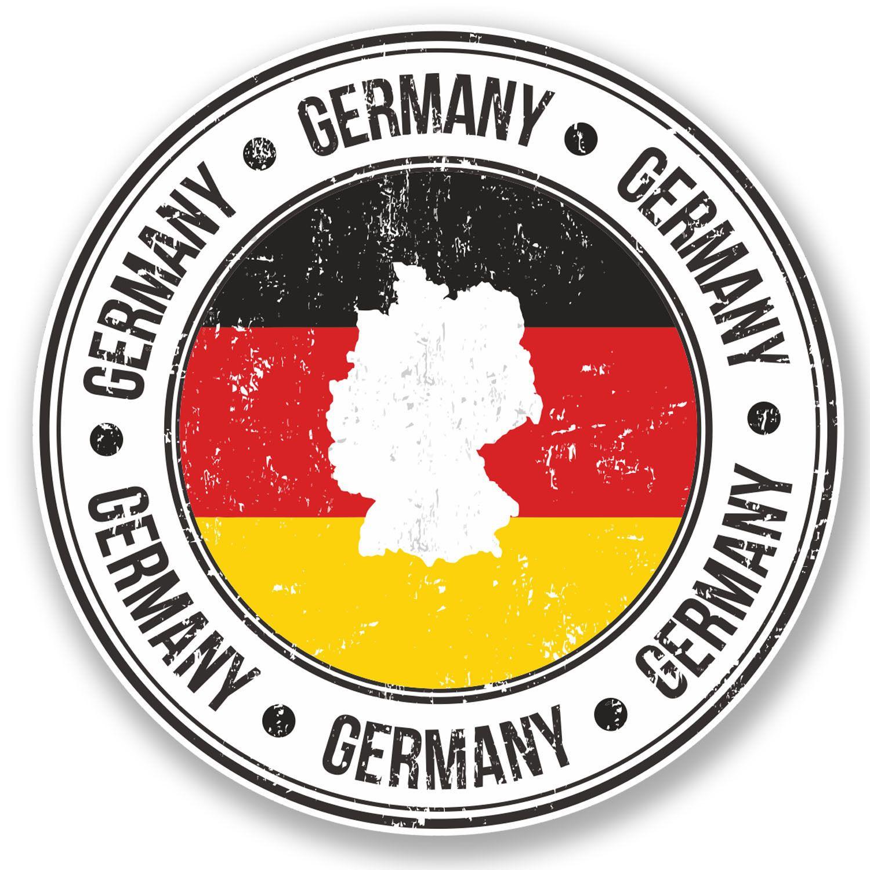 2 X Deutschland Germany German Flag Map Sticker Car Bike