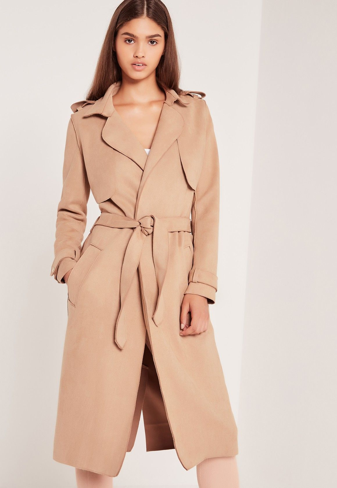 1a15ebff48b Raw Seam Faux Suede Trench Coat Nude - Missguided | style7 | Suede ...