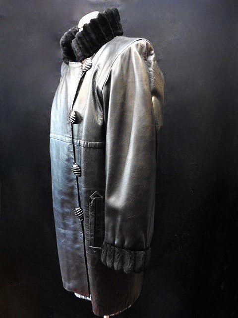 Laurent Taille Cuir Fourrure Large Yves Et Saint Vintage Manteau nR17wCxqC