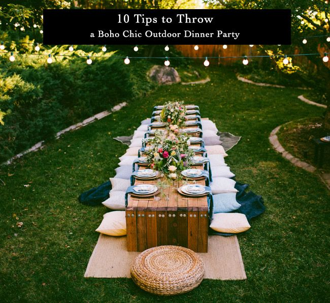 10 Tips To Throw A Boho Chic Outdoor Dinner Party Reception
