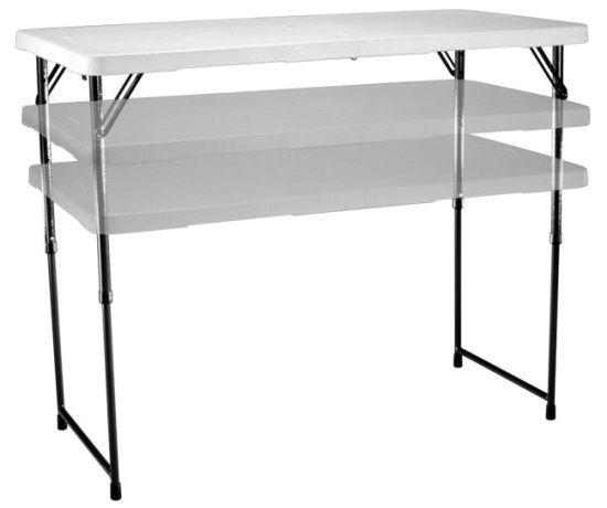 Lifetime Adjustable Leg Table   4428 White 4 Foot Fold In Half Folding Table