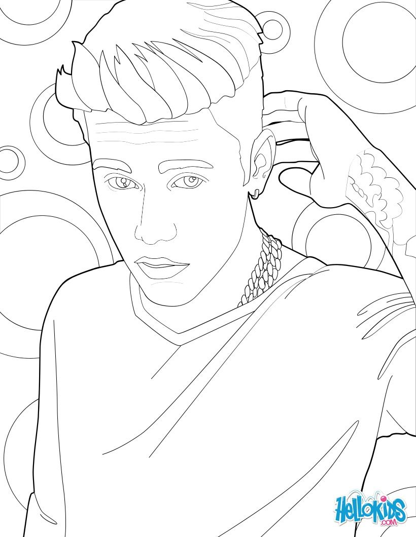 Justin Bieber and his Tattoo coloring page, More Famous People ...