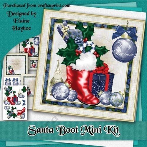 santa boot mini kit by elaine hayhoe an 8x8 christmas card kit with
