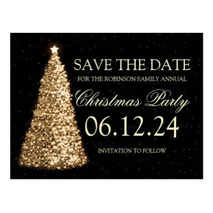 Elegant Christmas Party Save The Date Gold Black Announcement Postcard Zazzle Com Elegant Holiday Party Elegant Christmas Party Christmas Save The Date