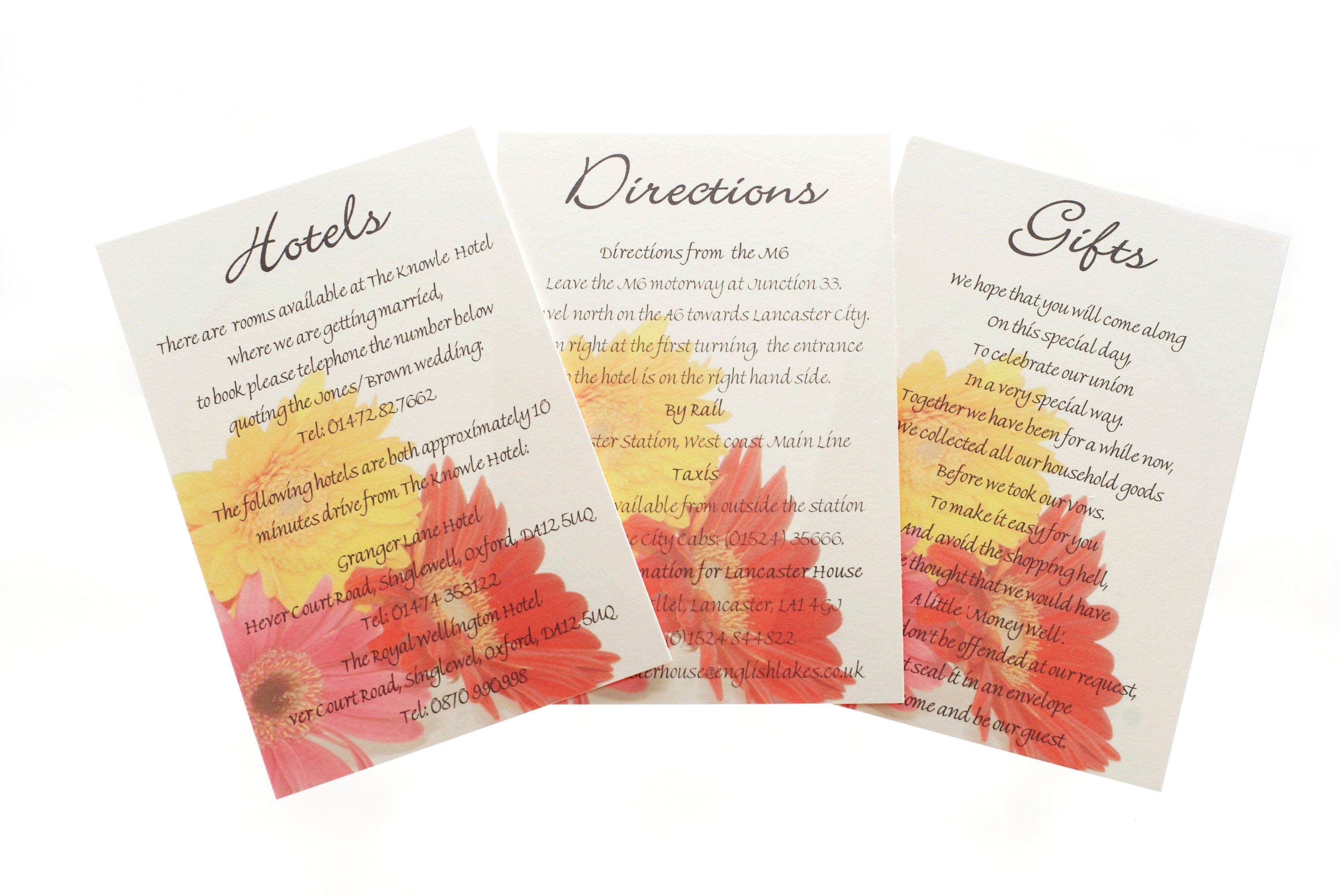 Mixed Gerbera One Sided Information Card Gerbera Daisy Wedding