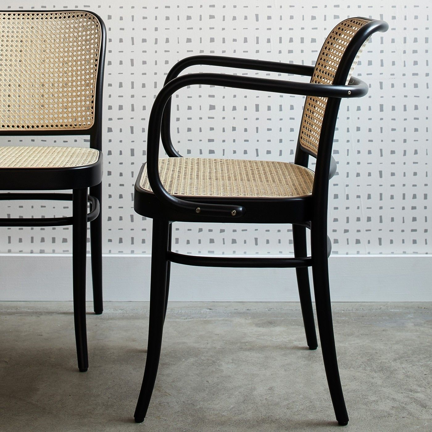 811 Black Armchair Cane Dining Chairs Black Dining Chairs