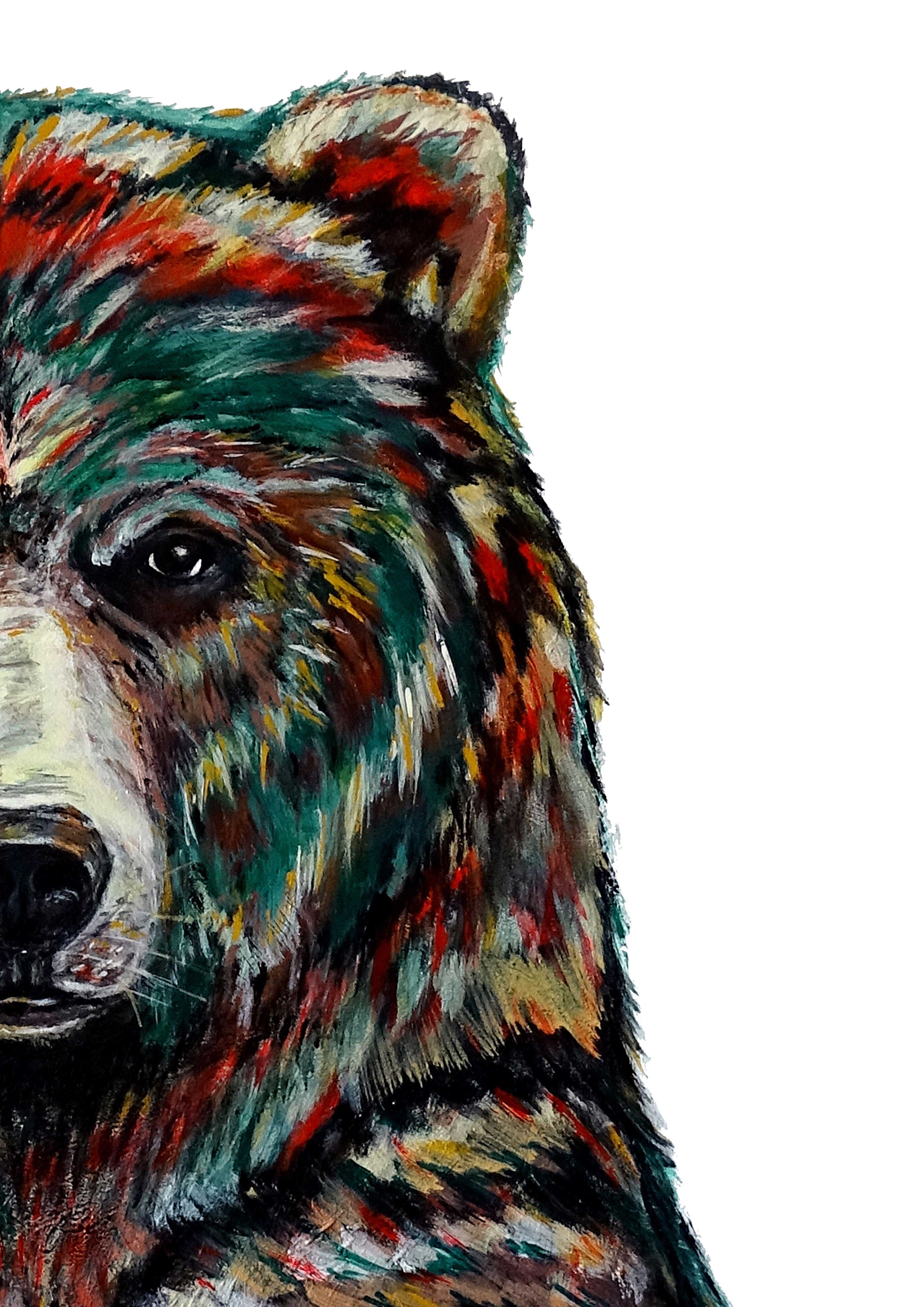 Ours Acrylique Bluebeary Animal Peinture Animaux Acrylique Art Animalier Artiste Art Animal Totems Culture Art