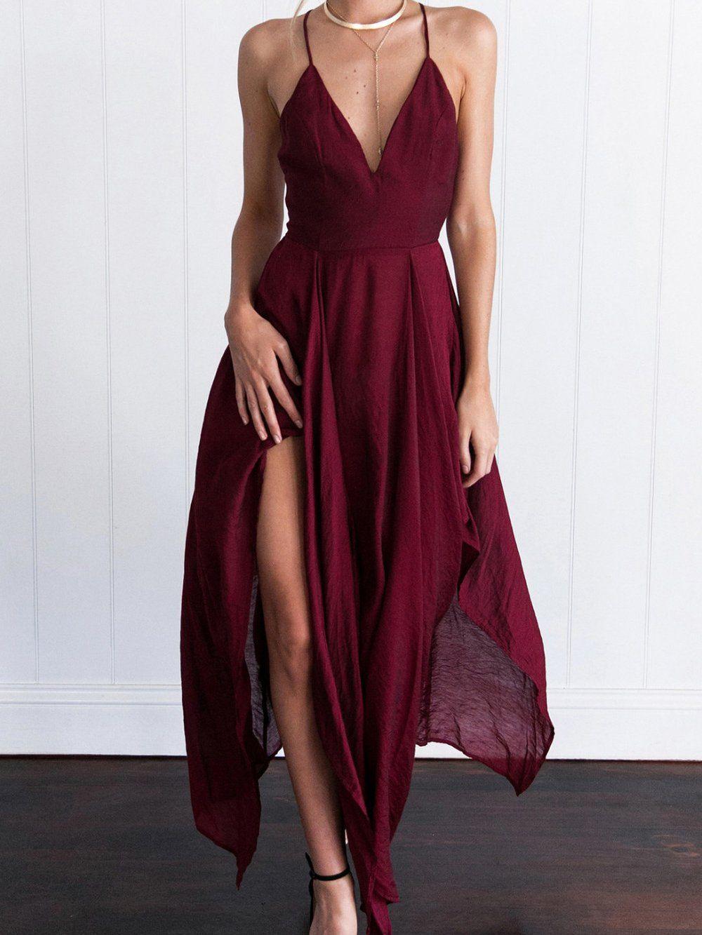 Sexy burgundy prom dresses halter asymmetrical long prom dress