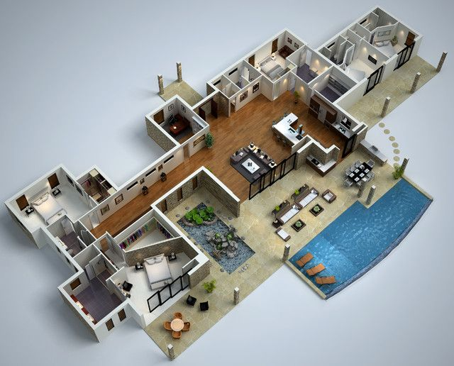 3d 4 Bedroom House Plans   Google Search