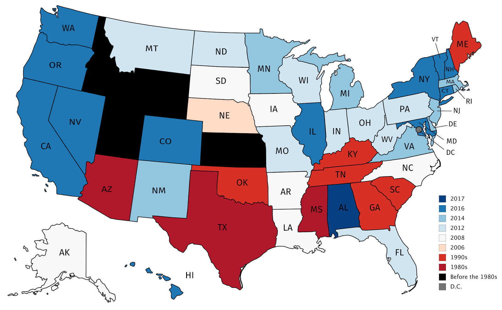 The last time a stated voted for a Democratic candidate for ... Map Of Democratic States on map of usa with electoral votes, red and blue states 2012, democratic blue states 2012, map of usa in thyroid cancer, republican states 2012, map of democrats and republicans in congress 2013, map of germany states 2012, presidential election battleground states 2012,