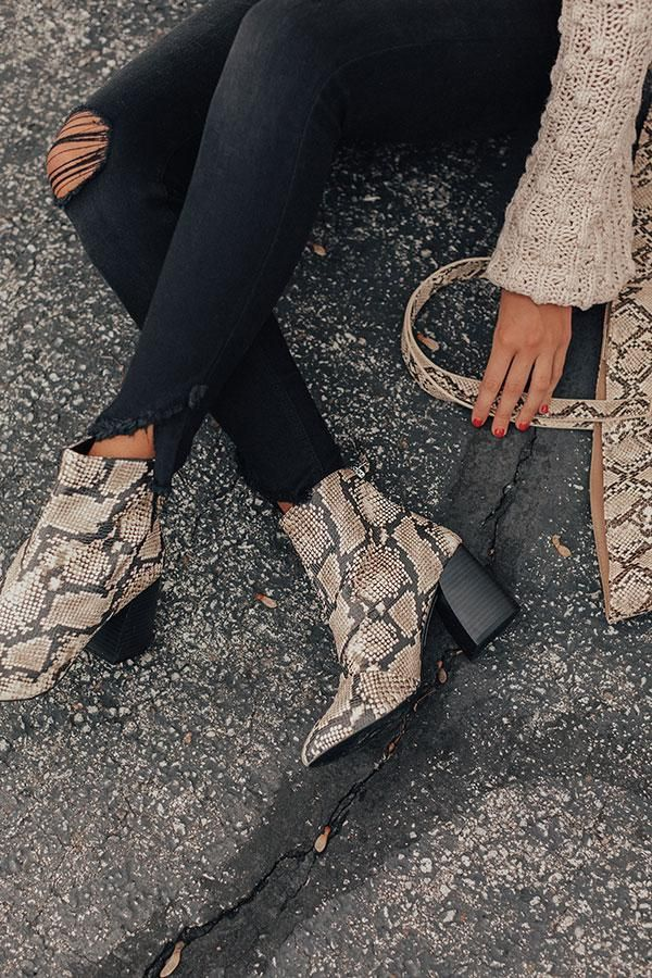 The Madeline Snake Print Bootie #booties