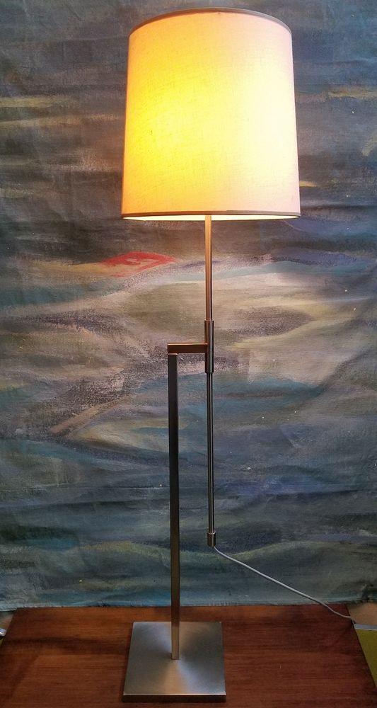Vintage MCM Laurel Adjustable Height Floor Lamp Brushed Steel Hollywood  Regency