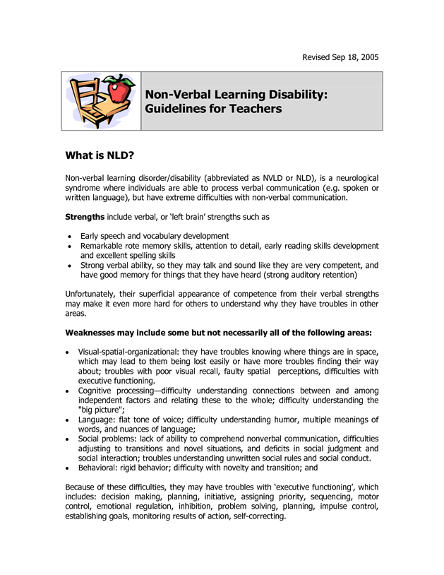 Non-Verbal Learning Disorder Guide for School by tyndale