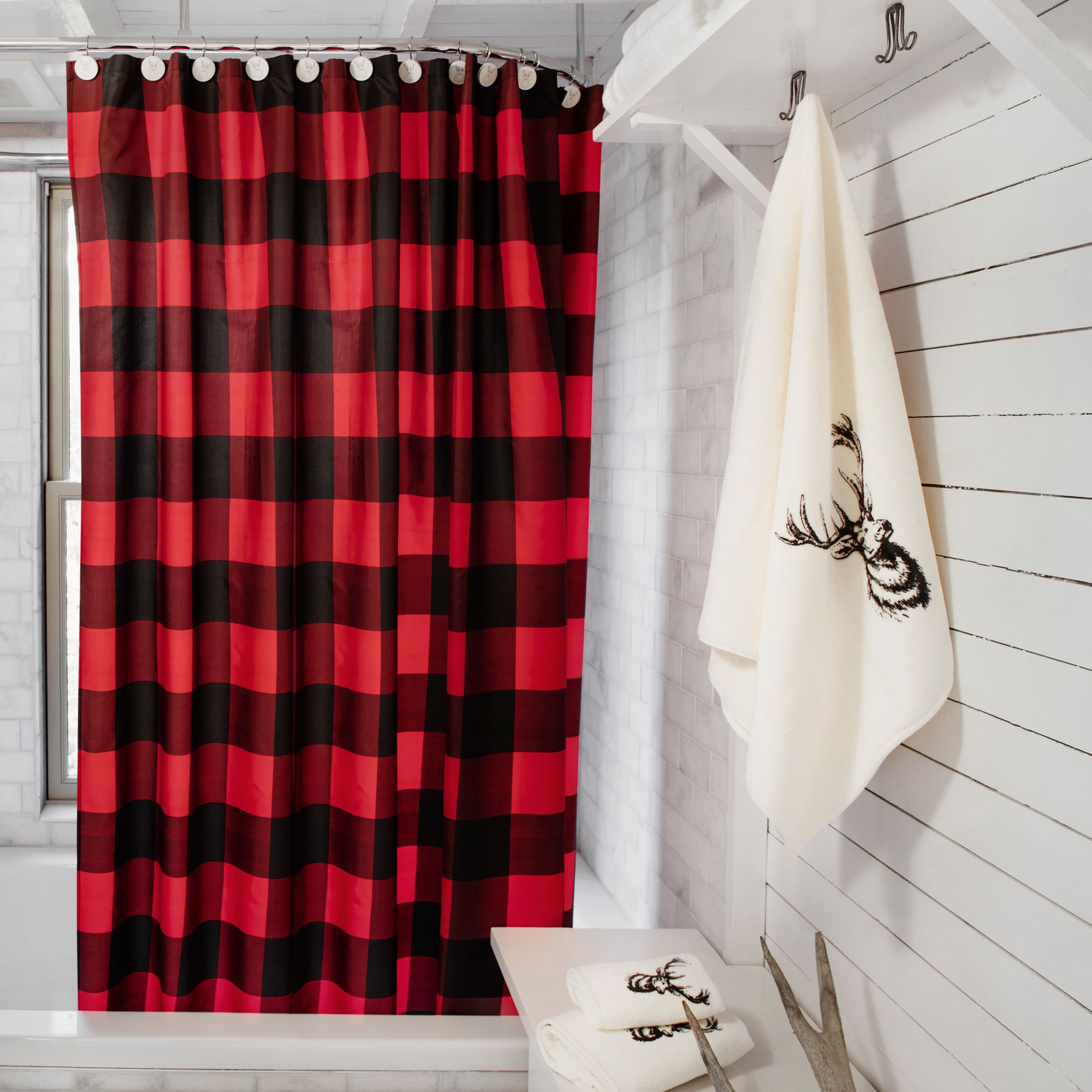 Buffalo check shower curtain simons decor bathroom for Red and black bathroom accessories sets