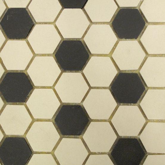 Bathroom/ Black & White Hexagon Floor Tiles, Neutral Grout