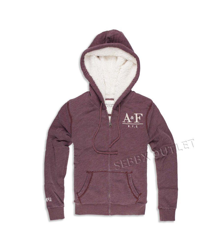 Abercrombie & Fitch Hoodie Full Zip Sherpa Sweatshirt Maroon
