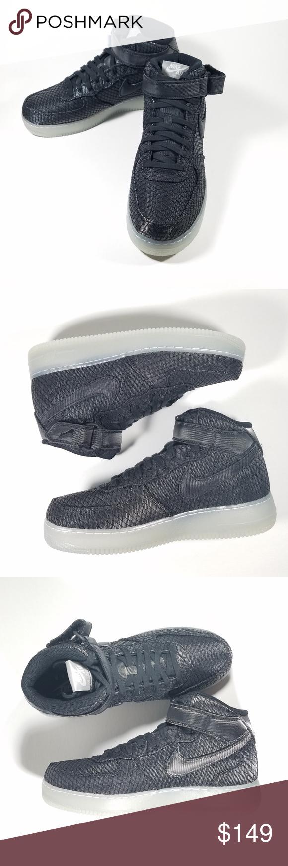 best service b2c64 30d41 Nike Air Force 1 Sz 9 Mid  07 804609-005 Black Nike Air Force 1 Mid  07 LV8  Mens 804609-005 Black Silver White Shoes Size 9 Nike Air Force 1 Mid  07 LV8  ...