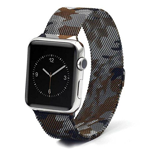 973a70865454b2 Apple Watch Band Eagwell Fully Magnetic Closure Clasp Mesh Loop Milanese  Stainless Steel Bracelet Strap for Apple iWatch Sport Edition 42mm  camouflage ...