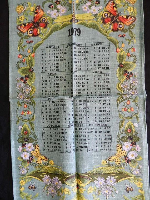 1979 Calendar Birth Year Vintage Unused Tea Towel Dishcloth